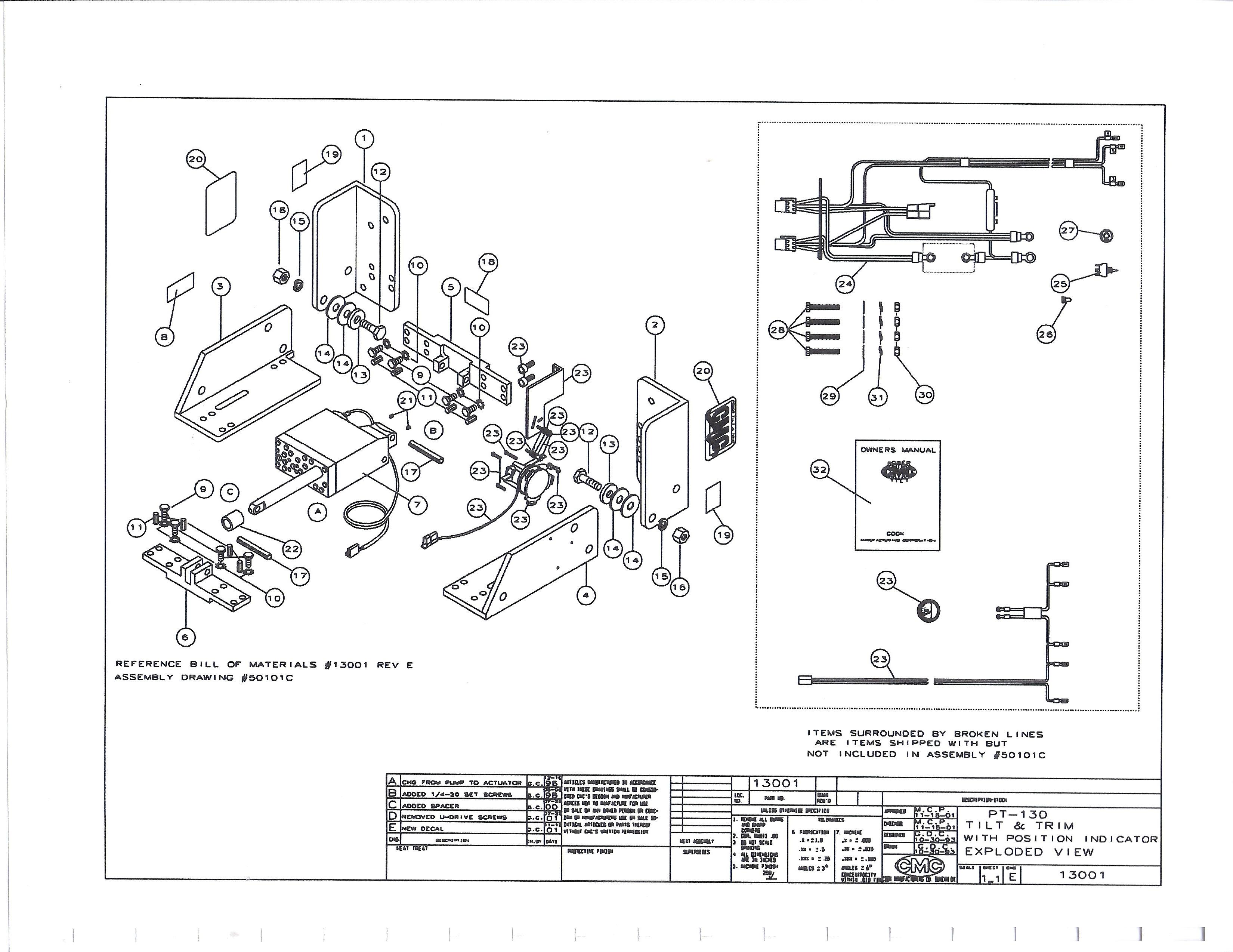 jack plate wiring diagram 13 pin towbar uk replacement parts for the cmc pt 130 tilt trim unit