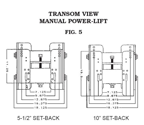 CMC 5 1/2 '' Setback 2 Piece Manual Jack Plate 55012