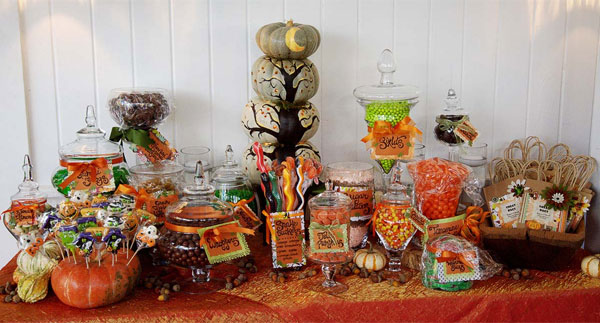 Wedding candy buffet tables are a sweet option pun