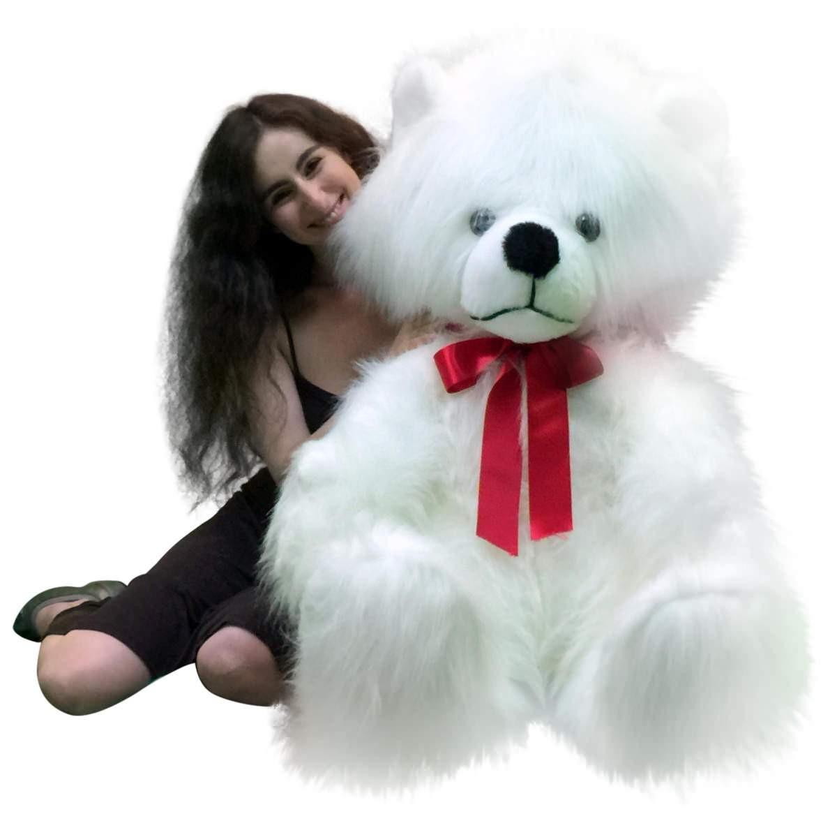American Made Giant White Teddy Bear Long Fur Soft