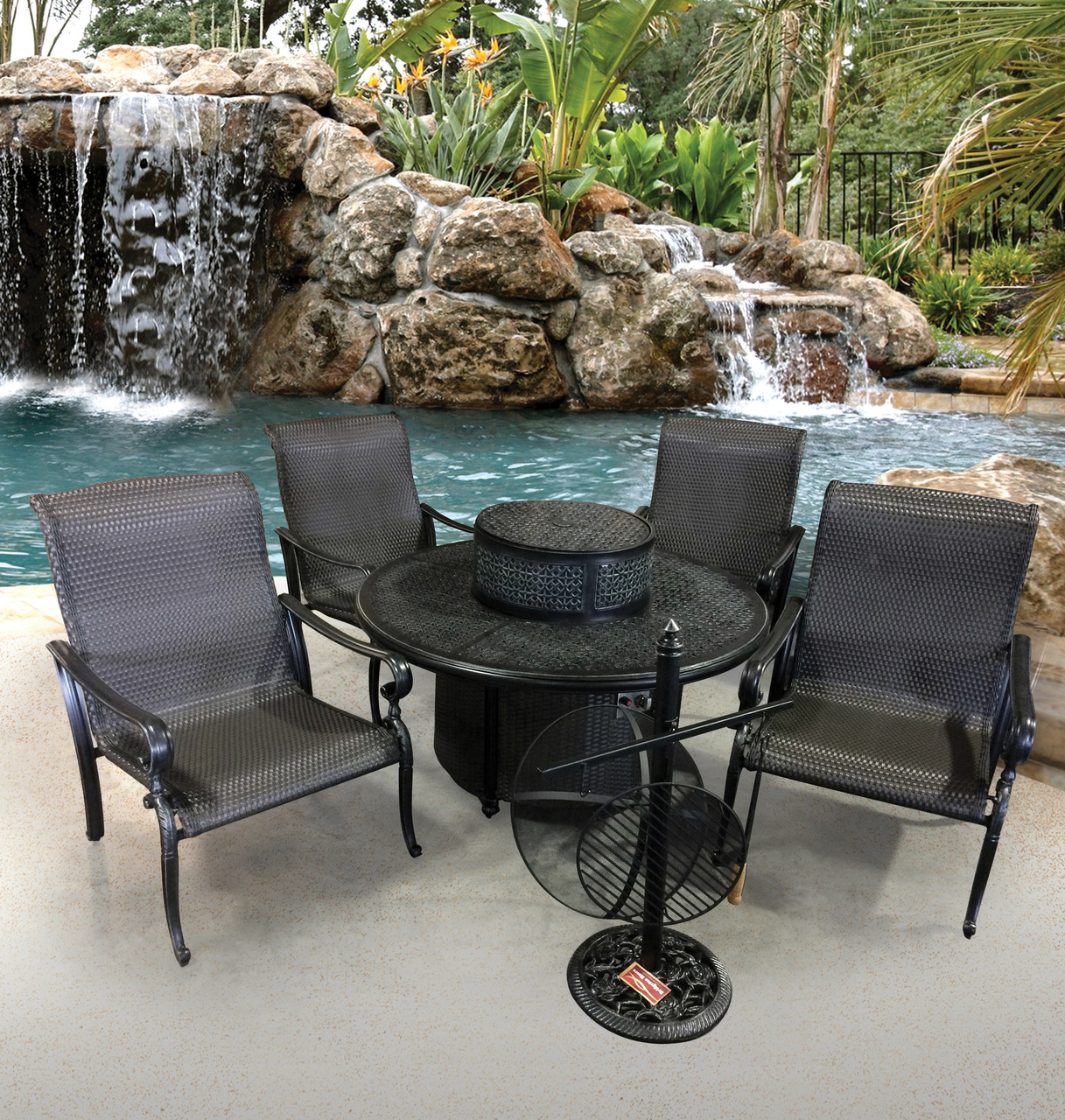 Patio Furniture Table And Chairs Wyndermere 6pc All Inclusive Gas Firepit Table Set