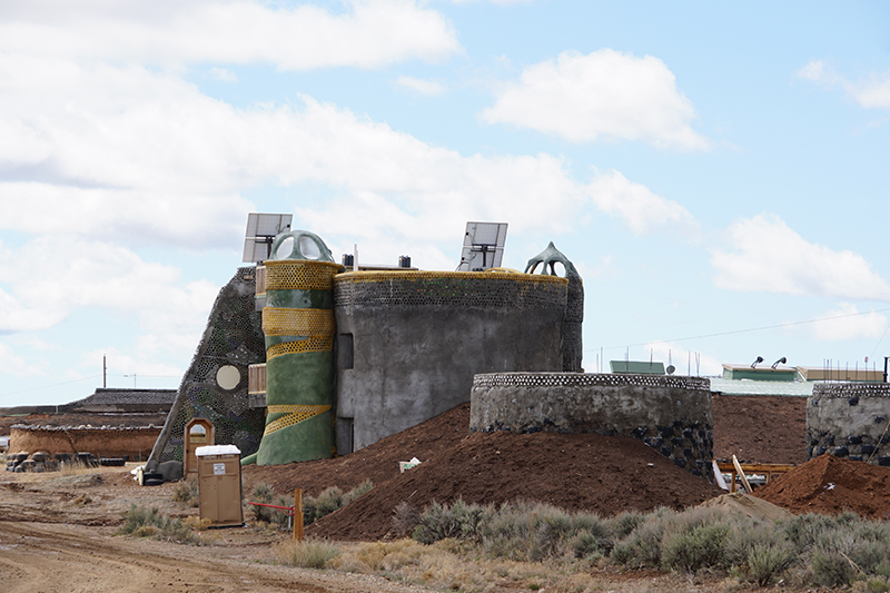 An Earthship mid-construction.