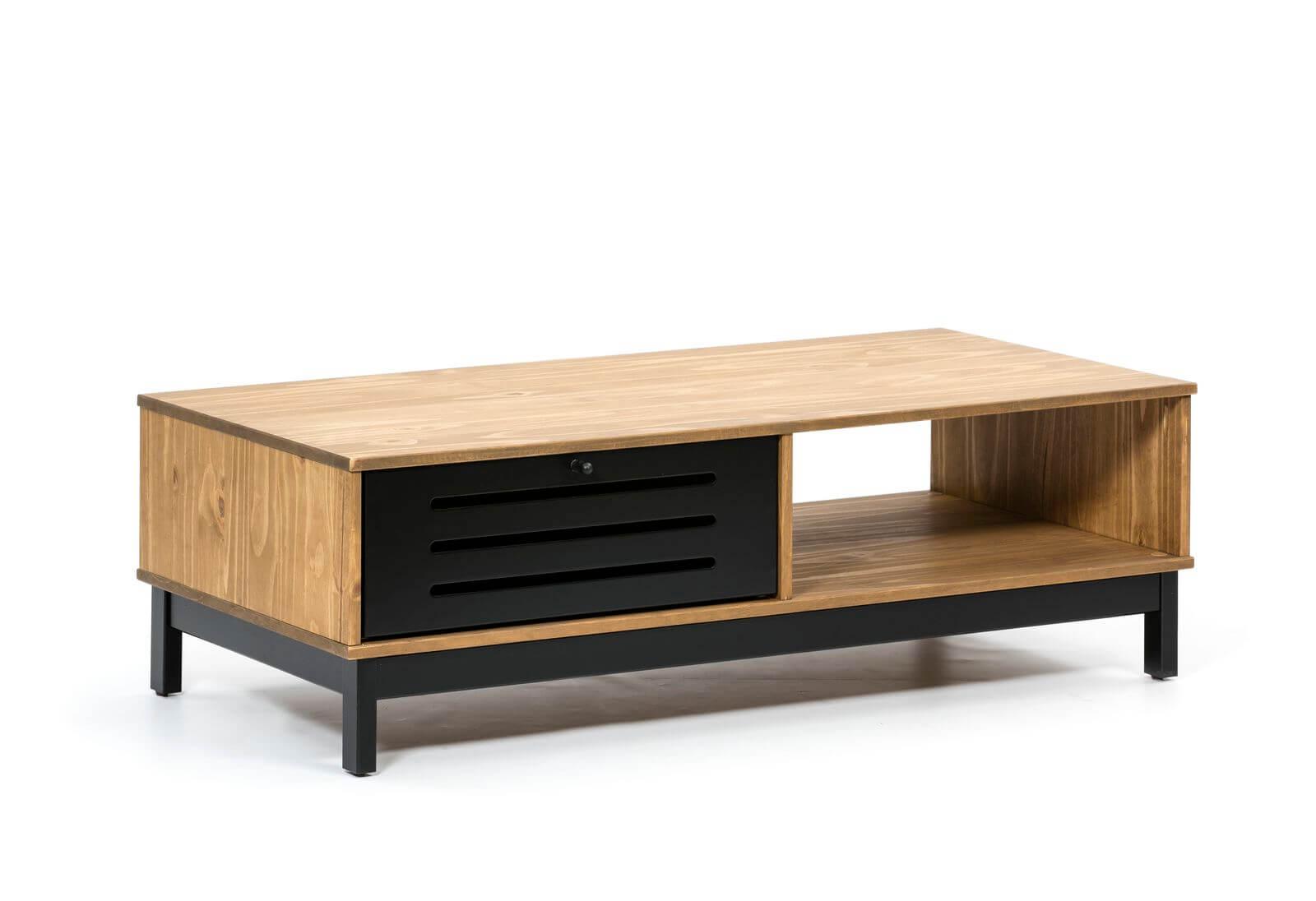 bobochic table basse 100 cm austin noir et bois clair