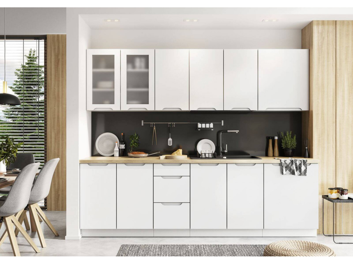 cuisine complete empure 260 cm gris et blanc mat