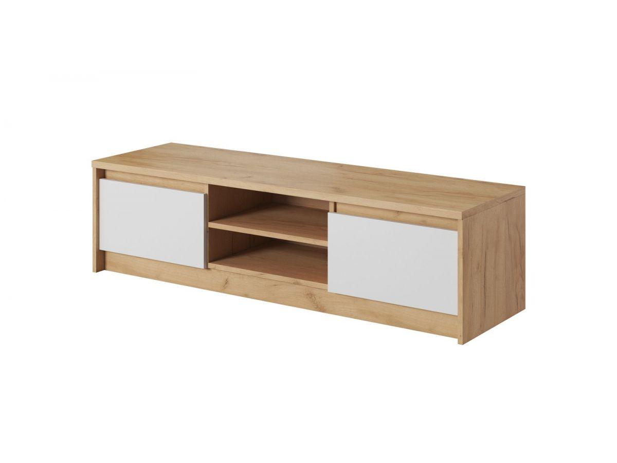 meuble tv 137 cm 2 portes xelyo blanc et chene