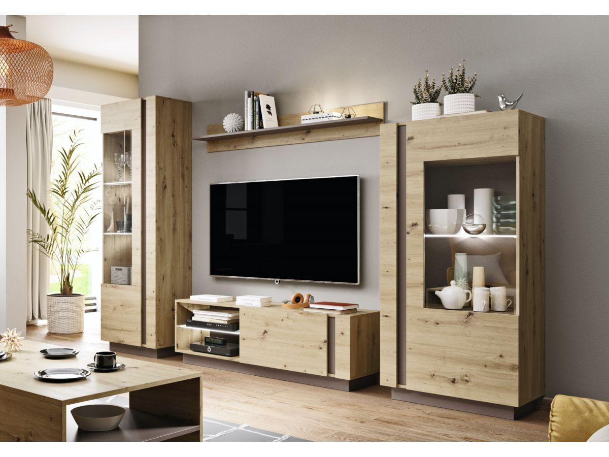 meuble tv 138 cm arcoma chene et gris
