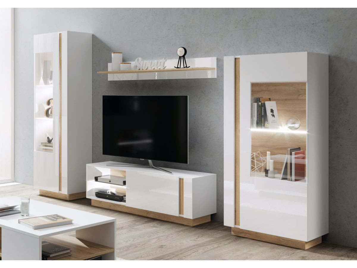 meuble tv 139 cm arcoma blanc brillant et chene bobochic