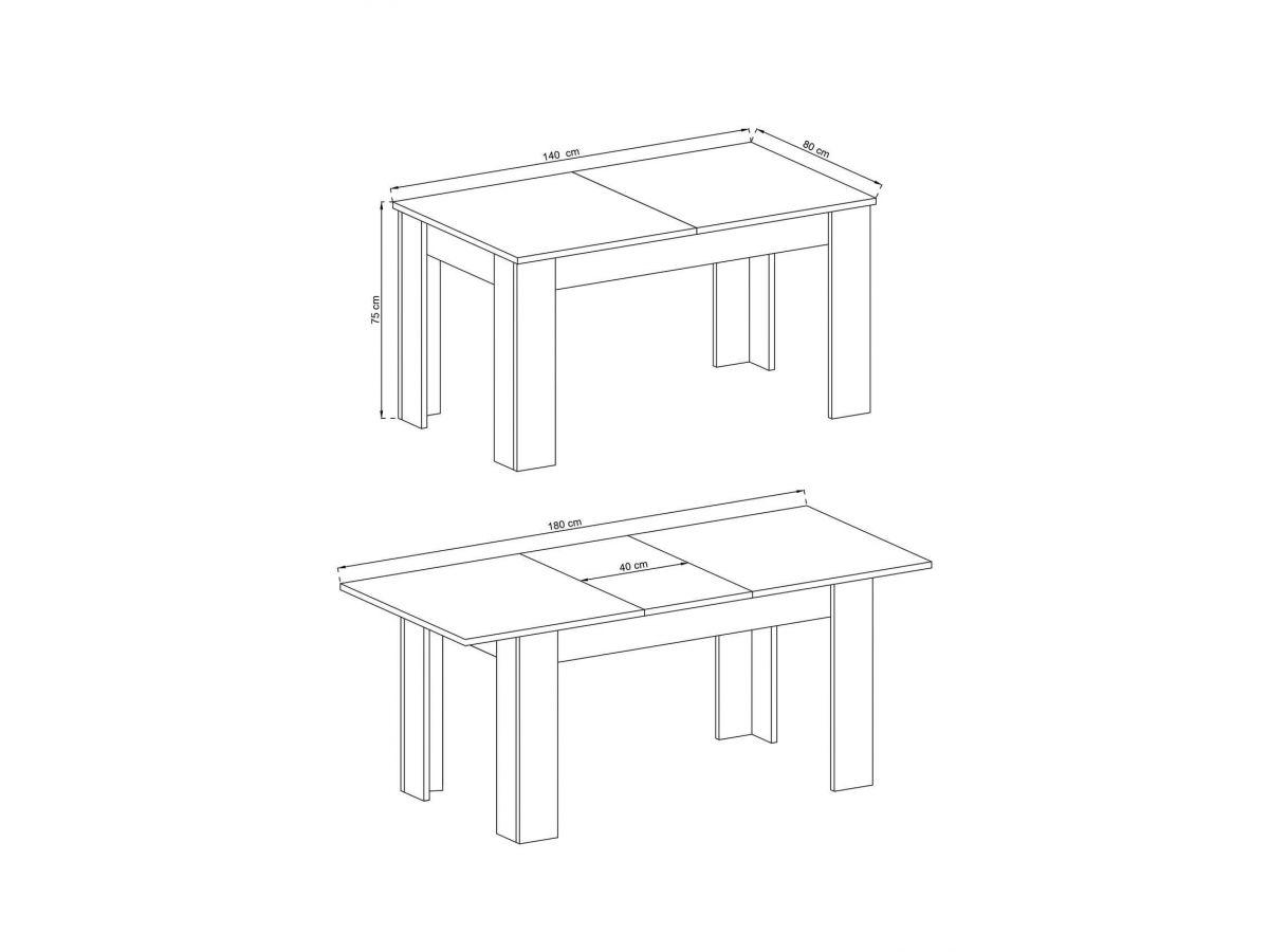 table extensible 140 180 cm skyline couleur bois chene blanchi