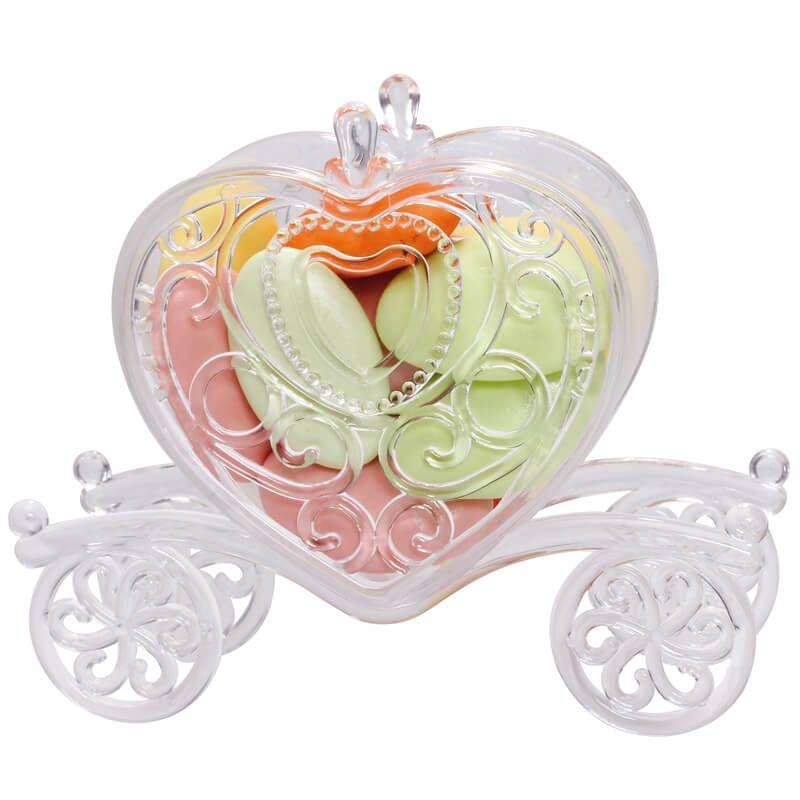 carrosse en forme de coeur pour dragees plexi transparent