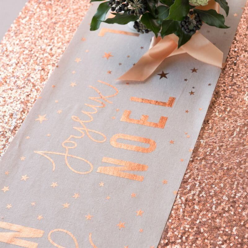 chemin de table joyeux noel metal rose gold 3 m