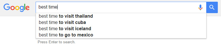 Best time search query and headline suggestions
