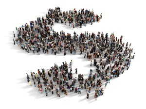 Large group of people forming the symbol of a dollar sign. Concept of success.