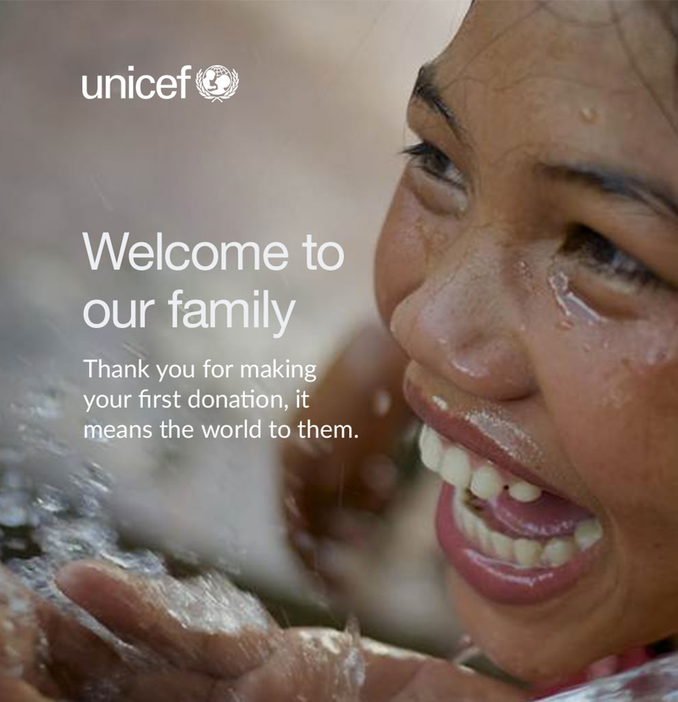 nonprofit welcome email from UNICEF