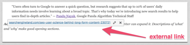 Editing an external link in WordPress