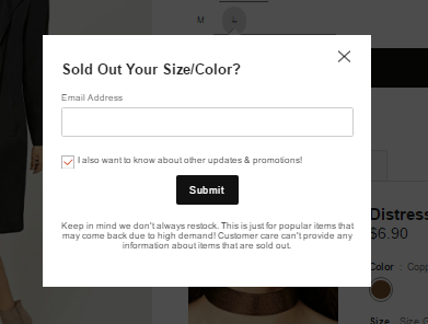 example of eCommerce email capturing