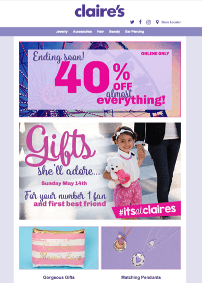Claires Mothers Day Email
