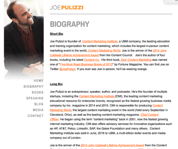 A great example of a thought leadership strategy - Joe Pulizzi Bio