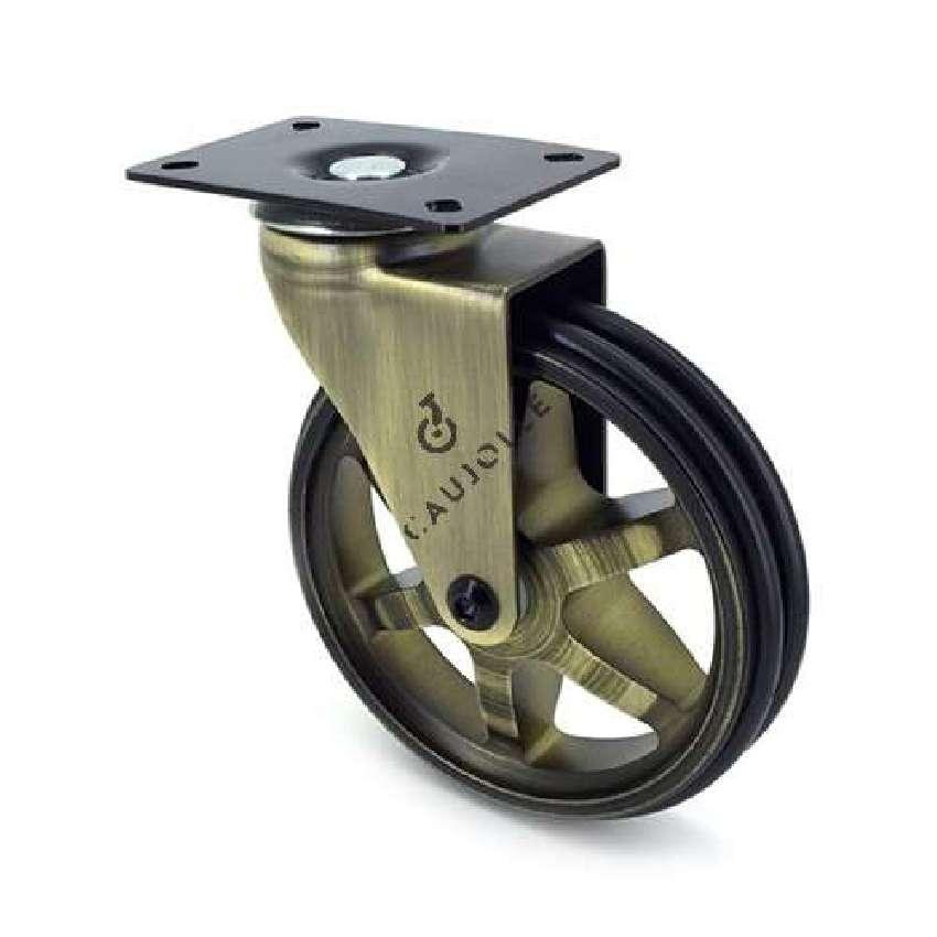 roulette design retro en aluminium dore diametre 125 mm charge 70kg goldstyl125p