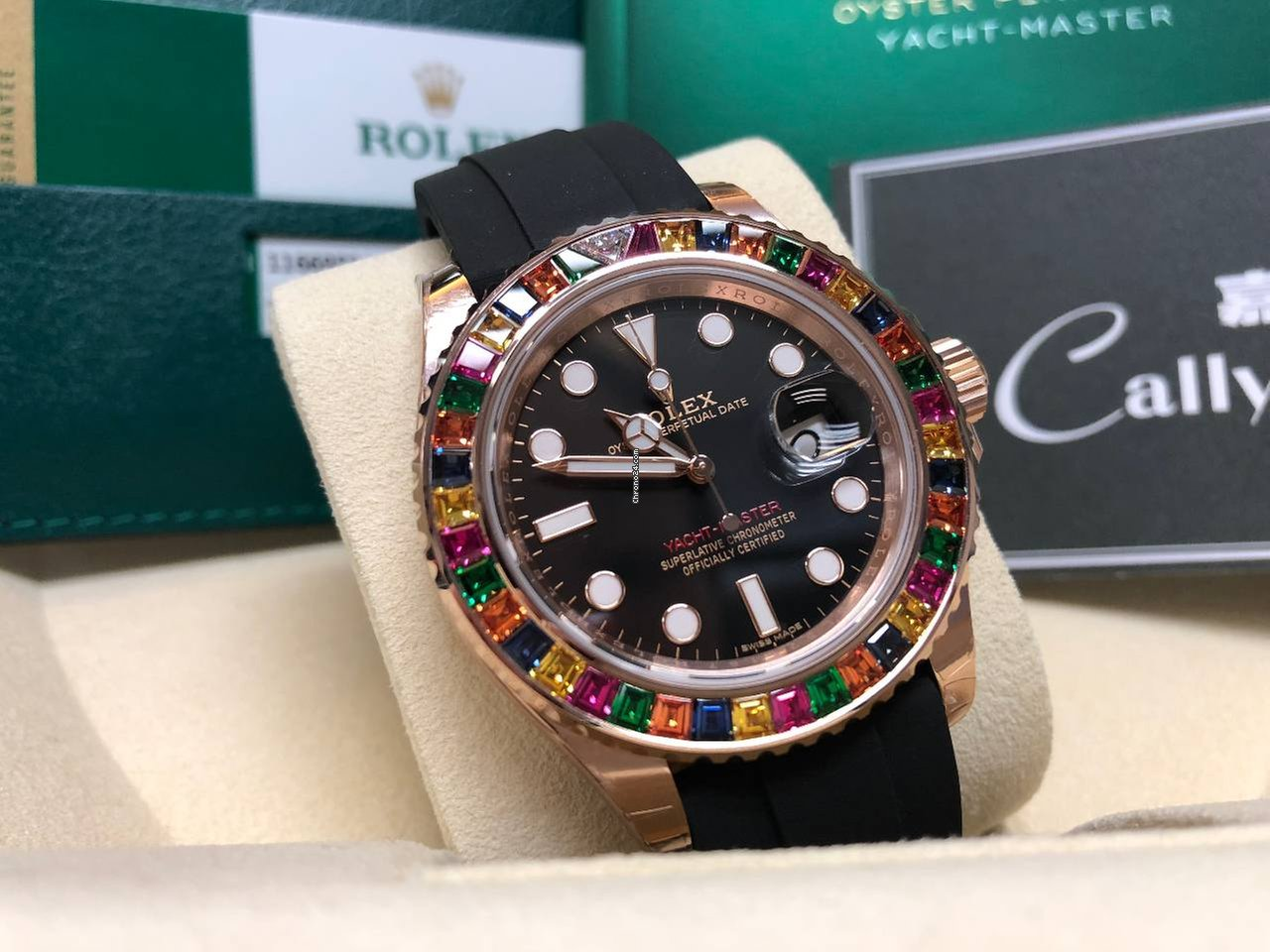 Rolex Cally 116695 SATS Yacht Master Rainbow Bezel For