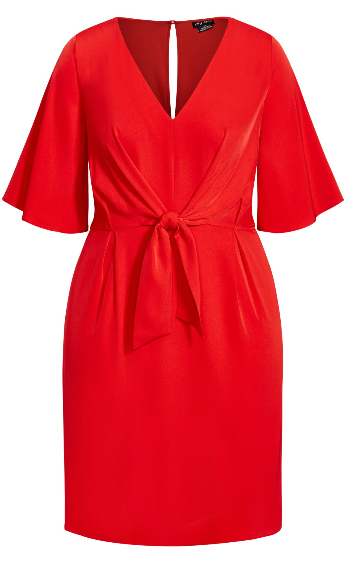 Knot Front Dress - red 5