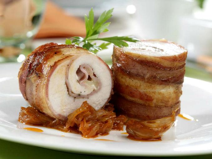 Pechugas de pollo rellenas con tocino y queso  Recetas de