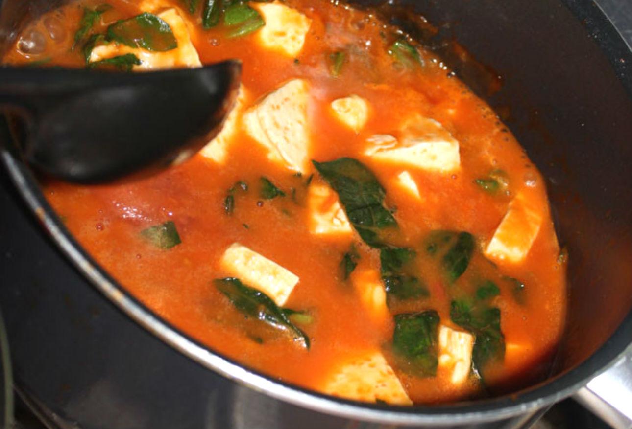 sopa de queso panela con espinaca  CocinaDelirante