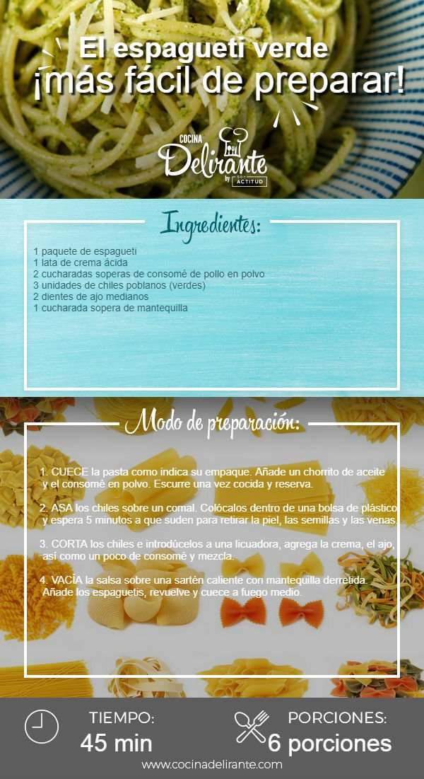 Aprende A Preparar Espagueti Verde 1500 H Adn Agencia