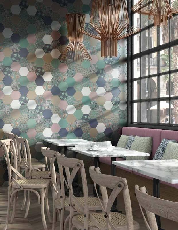 Carrelage hexagonal sol mur intrieur en grs crame