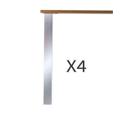 lot de 4 pieds de table en aspect inox