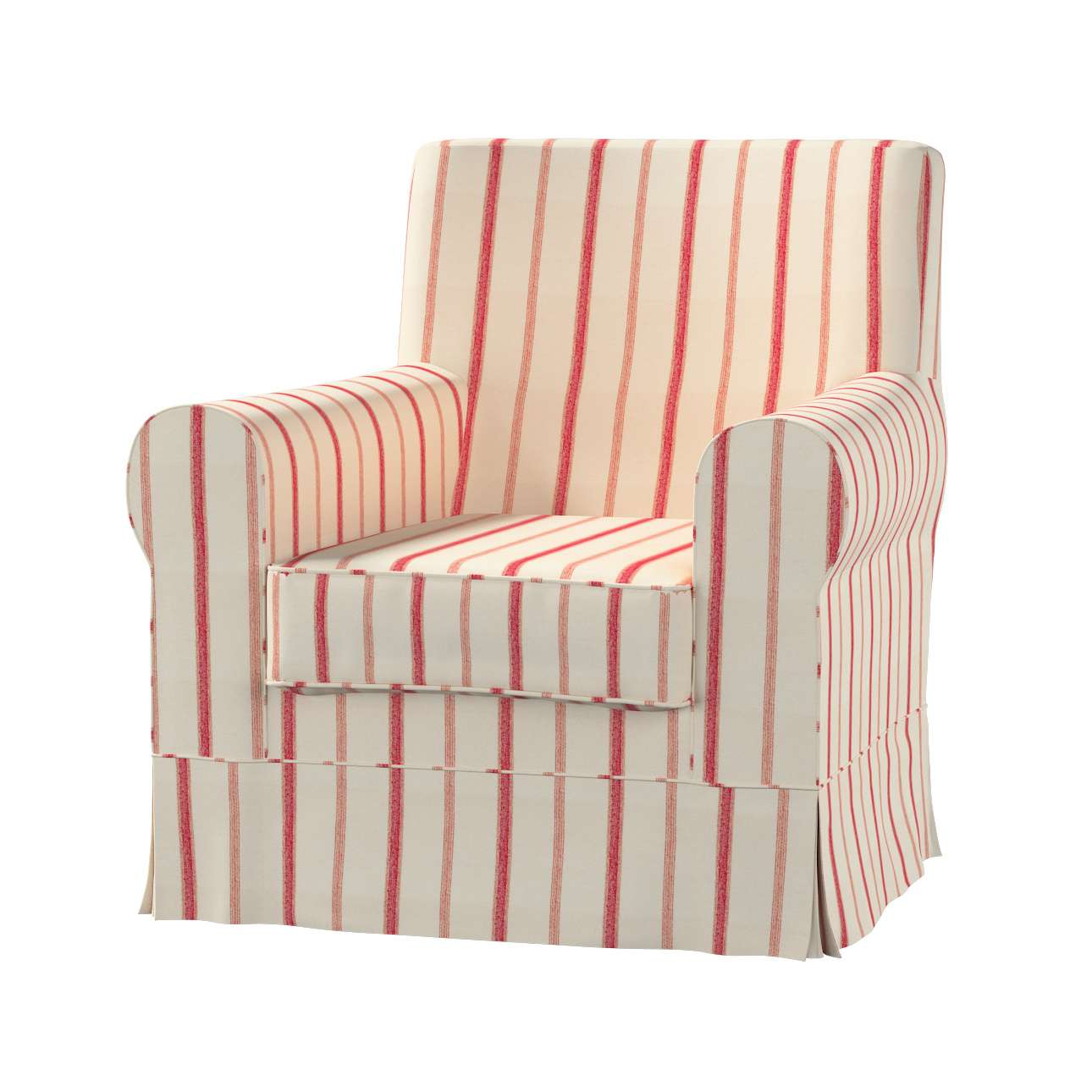 ikea jennylund chair covers uk swivel club chairs upholstered ektorp armchair cover red stripes ivory background