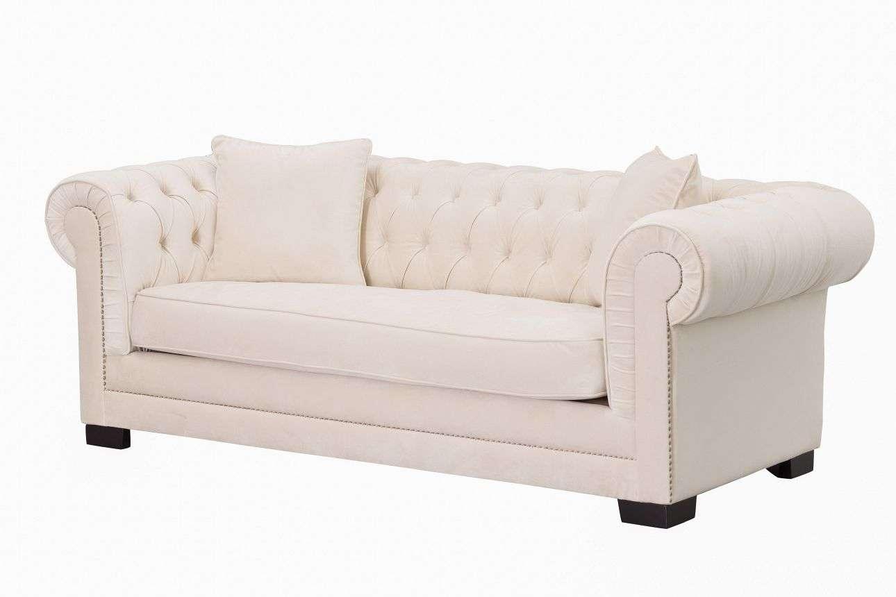 sofa classic bunk bed sleeper chesterfield velvet cream 3 sitzer dekoria