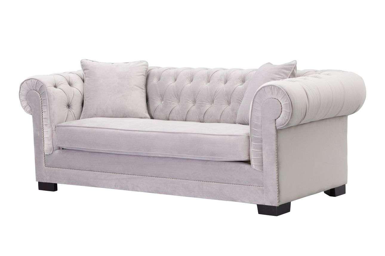 chesterfield sofa bed grey velvet white leather futon comfy pillow top classic light 3os dekoria