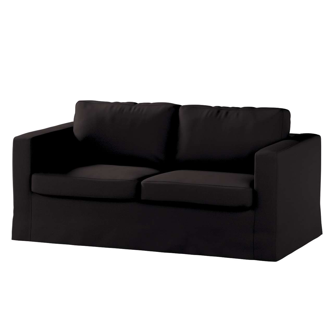 length of 2 seater sofa black leather with chrome legs floor karlstad cover dekoria in collection panama cotton fabric 702