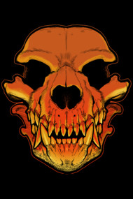 Werewolf Skull T Shirt. Creepy werewolf skull.. .blend of human and wolf skull shape.