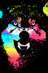 Technicolor Wolf Shirts What the wolf say? by Design by Humans