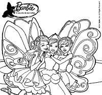 Dibujo de Barbie y sus amigas en hadas para Colorear