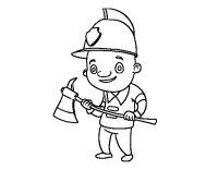 Dibujo de Bombero profesional para Colorear