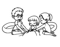 Dibujo de Familia en la playa para Colorear - Dibujos.net