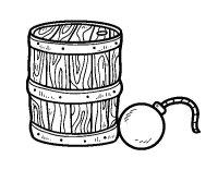 Dibujo de Plvora y bomba pirata para Colorear