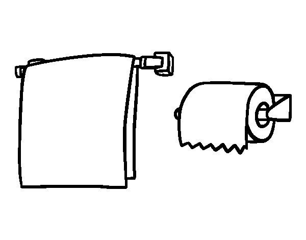 Dibujo de Toallero y papel higiénico para Colorear