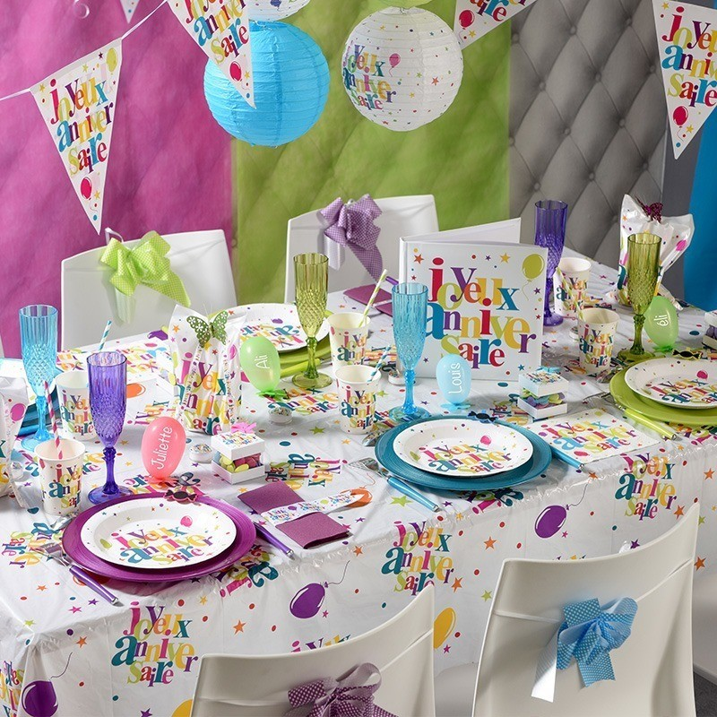 Nappe rectangulaire multicolore anniversaire  Drages Anahita