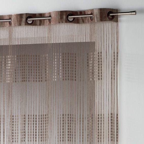 rideau fils a oeillets largeur 140 cm spaghetti chocolat