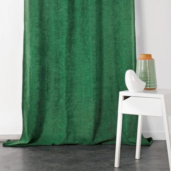 rideau occultant isolant 140 x h260 cm alaska vert bouteille