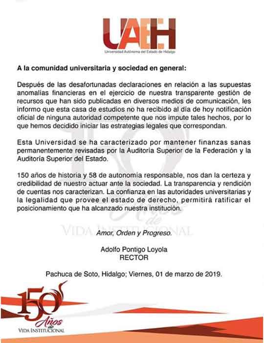 Comunicado oficial de la Universidad Nacional Autónoma de Hidalgo,