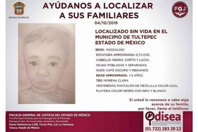 Luego que el cuerpo del bebé fue hallado, se emitió una ficha de búsqueda para localizar a sus familiares.