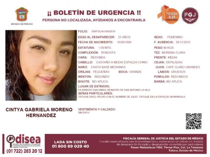 Cintya Gabriela Moreno Hernández fue vista por última vez al salir de su domicilio en el municipio de San Antonio la Isla. Foto: Especial