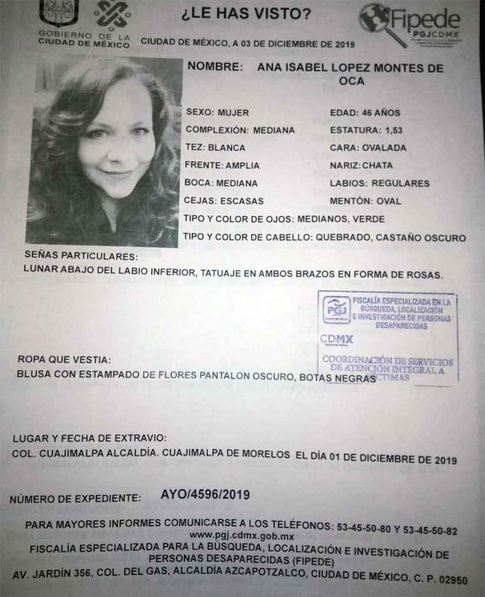 Ana Isabel López Montes de Oca fue localizada sin vida en el Estado de México.