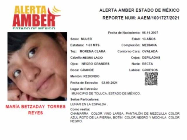 La Fiscalía General de Justicia del Estado de México emitió una Alerta Amber para localizar a María Betzaday Torres Reyes quien desapareció en el municipio de Toluca.