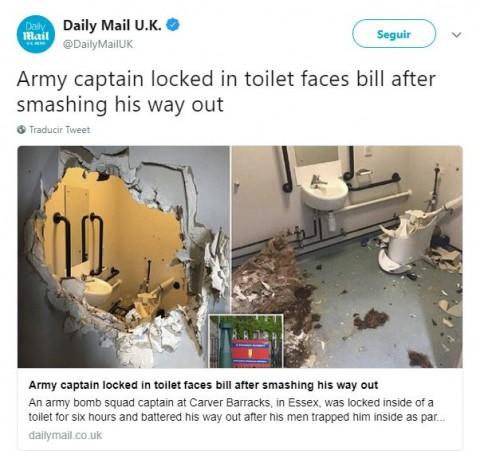 Capitán del ejército británico destruye una pared por su borrachera