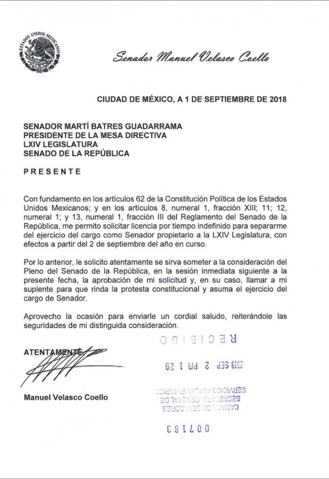 Manuel Velasco, Licencia, Senado, Chiapas, Gobierno